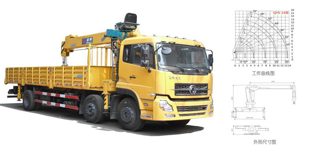 QYS-14III hydraulic telescopic truck-mounted crane with 14000kgs lifting capacity 360 continuous swivel