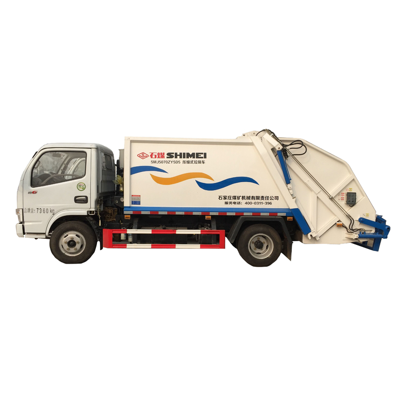 Rear loading waste collection and compaction efficient 6cbm transport vehicle